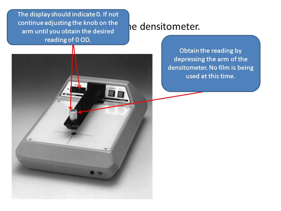 Calibrate the densitometer.