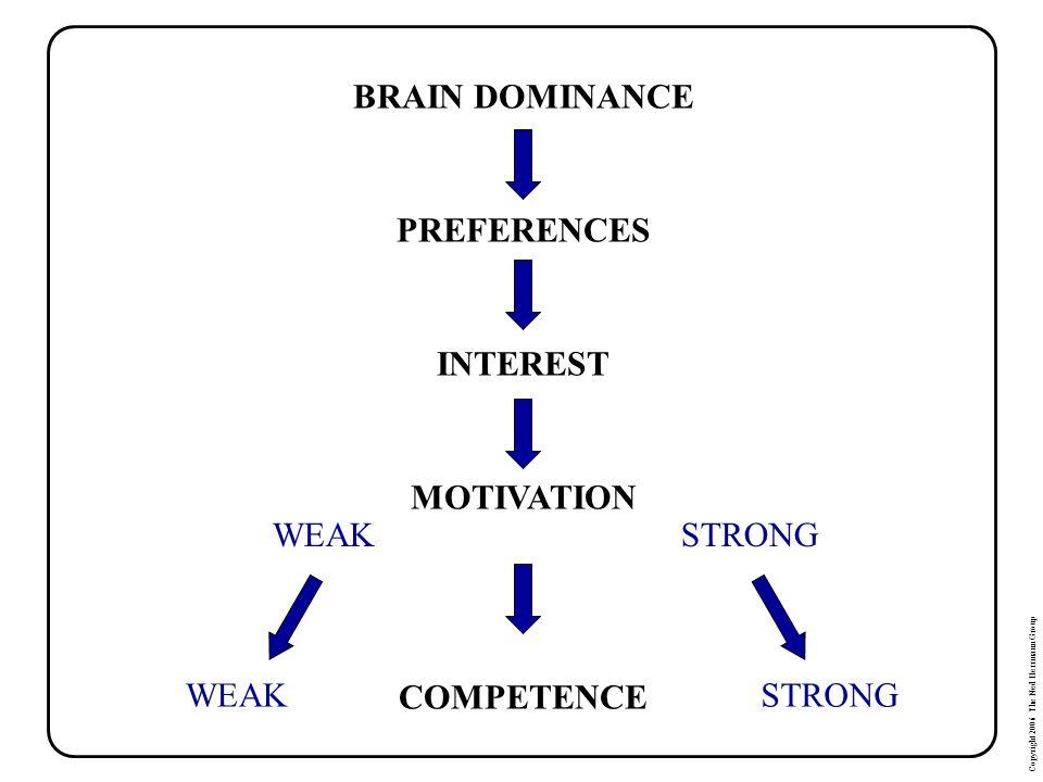 BRAIN DOMINANCE PREFERENCES INTEREST MOTIVATION COMPETENCE