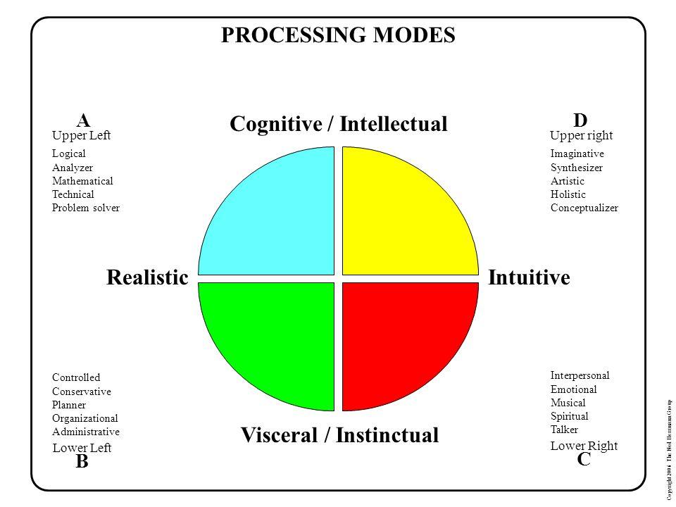 Cognitive / Intellectual Visceral / Instinctual