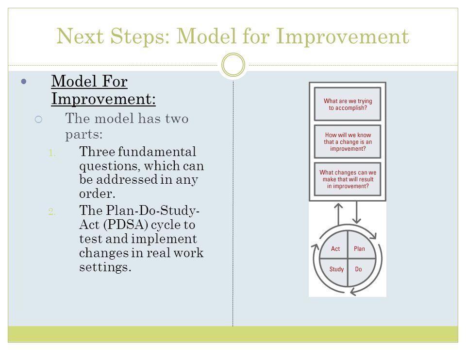 Next Steps: Model for Improvement