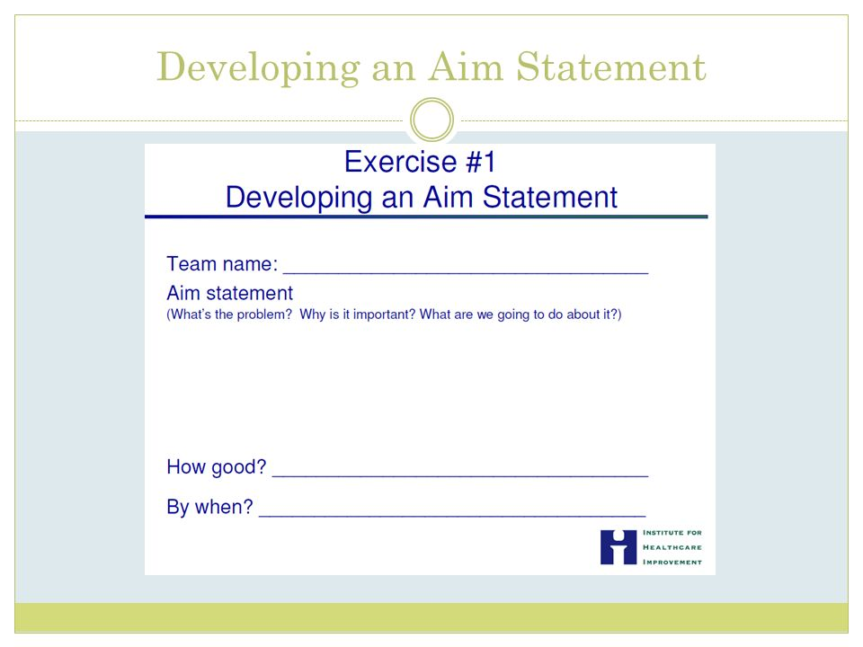 Developing an Aim Statement