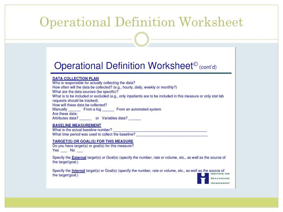 Operational Definition Worksheet
