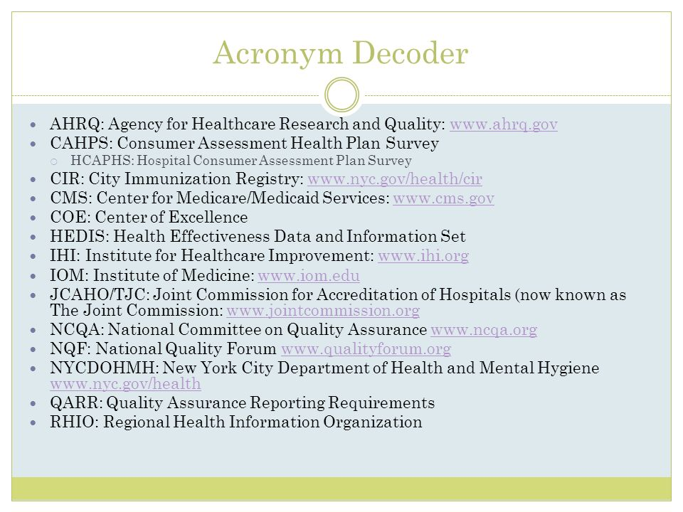 Acronym Decoder AHRQ: Agency for Healthcare Research and Quality: www.ahrq.gov. CAHPS: Consumer Assessment Health Plan Survey.