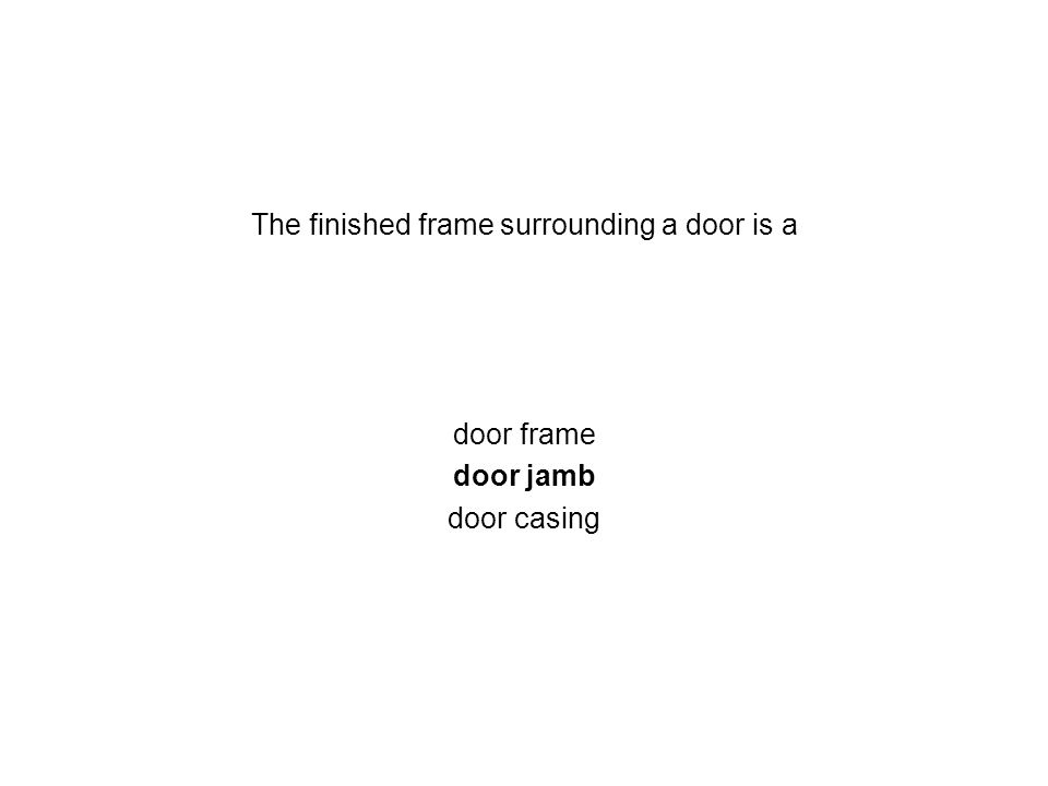 The finished frame surrounding a door is a