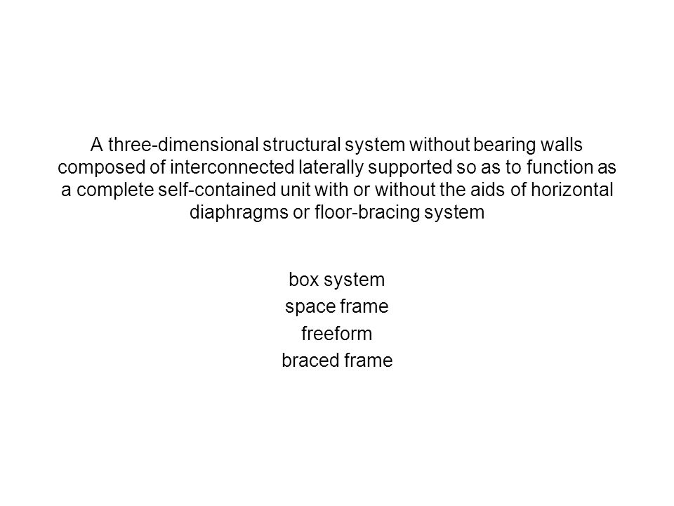 A three-dimensional structural system without bearing walls composed of interconnected laterally supported so as to function as a complete self-contained unit with or without the aids of horizontal diaphragms or floor-bracing system
