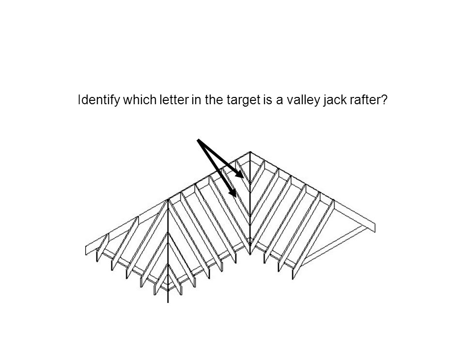 Identify which letter in the target is a valley jack rafter