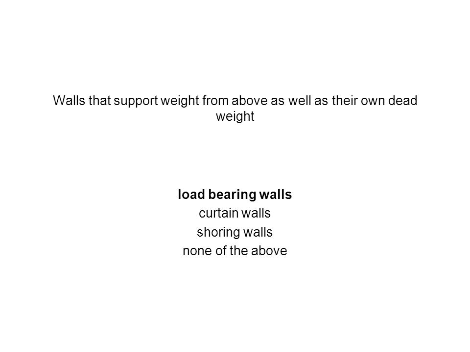 Walls that support weight from above as well as their own dead weight