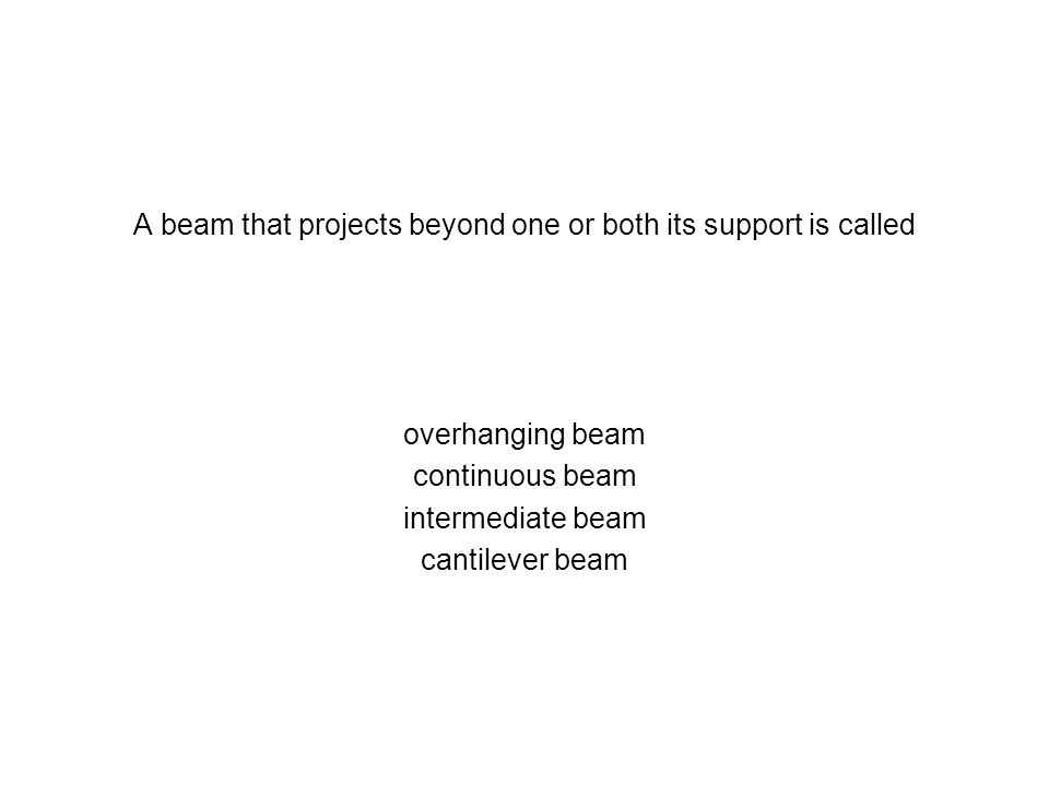 A beam that projects beyond one or both its support is called