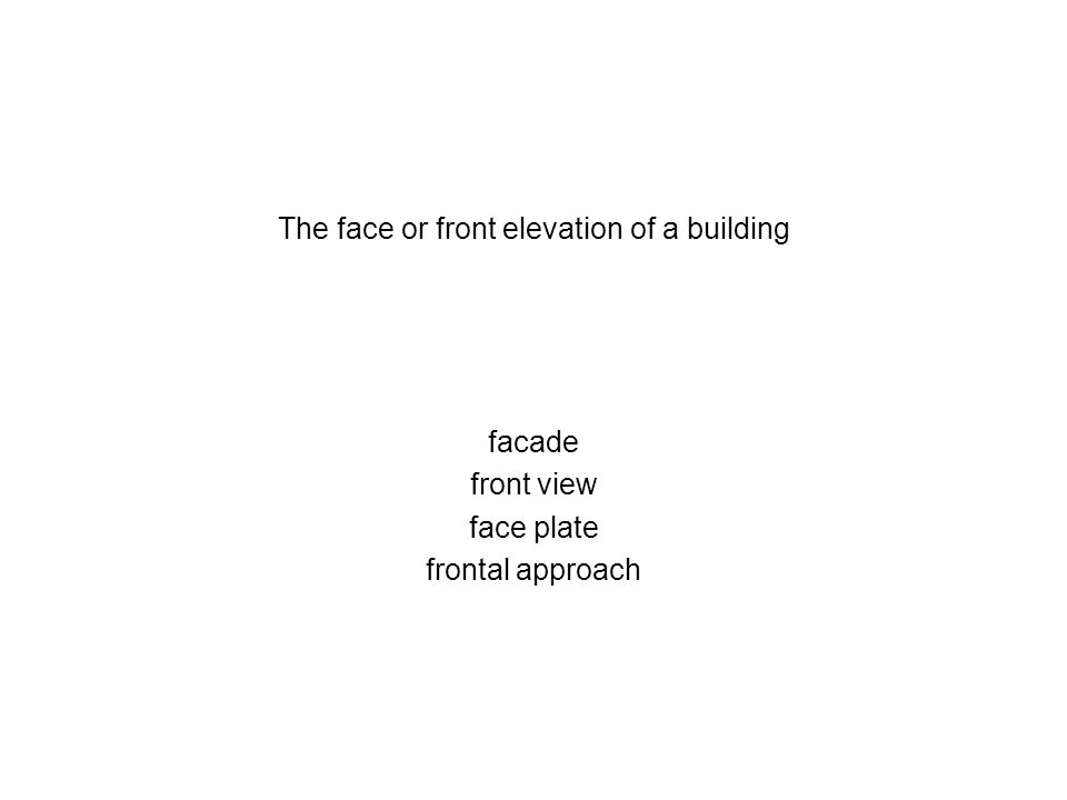 The face or front elevation of a building