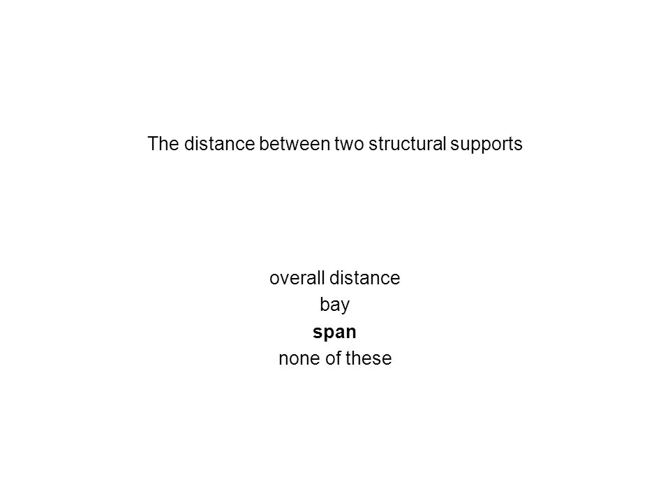 The distance between two structural supports