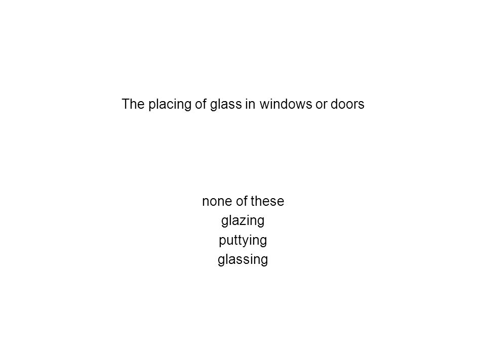 The placing of glass in windows or doors