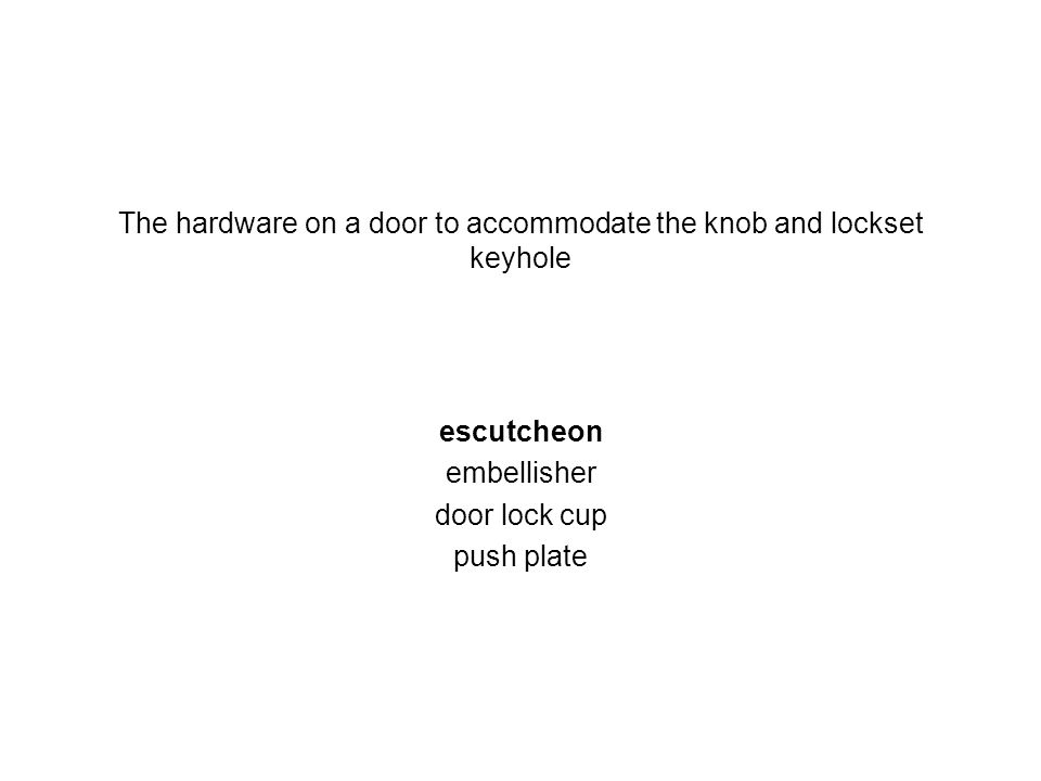 The hardware on a door to accommodate the knob and lockset keyhole
