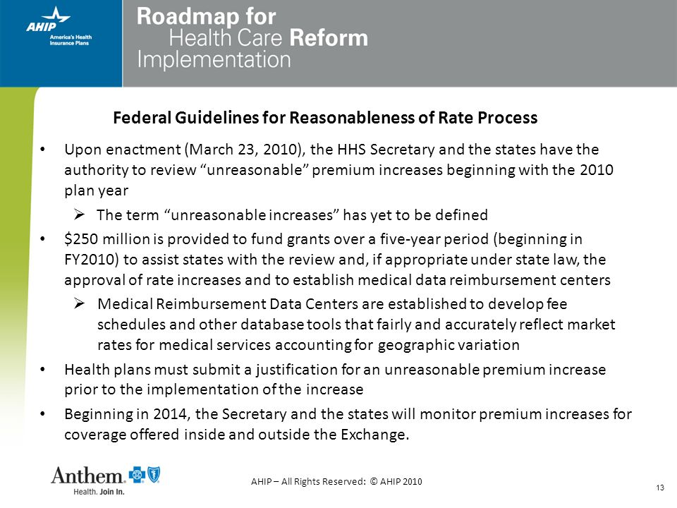 Federal Guidelines for Reasonableness of Rate Process