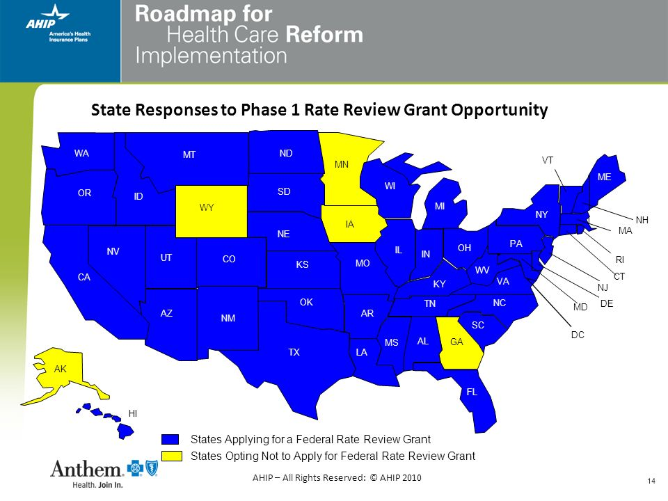 State Responses to Phase 1 Rate Review Grant Opportunity