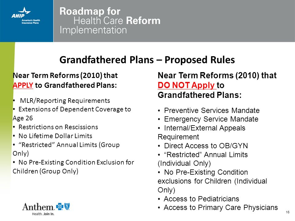 Grandfathered Plans – Proposed Rules