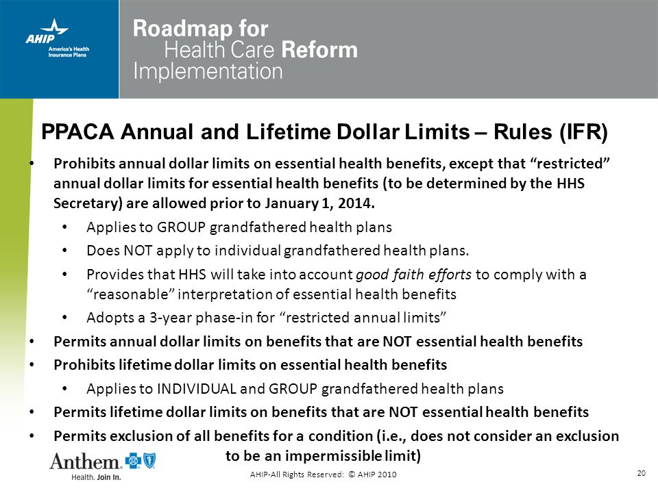 PPACA Annual and Lifetime Dollar Limits – Rules (IFR)
