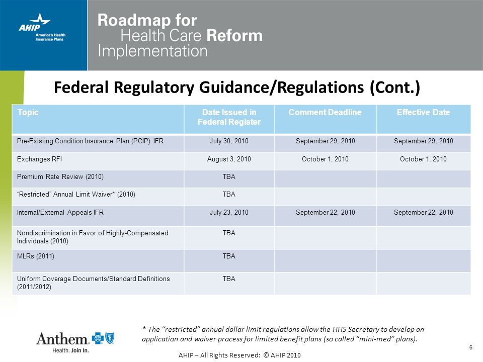 Federal Regulatory Guidance/Regulations (Cont.)
