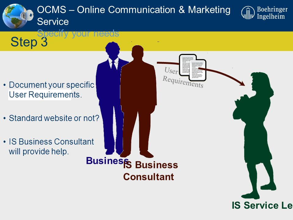 OCMS – Online Communication & Marketing Service Specify your needs