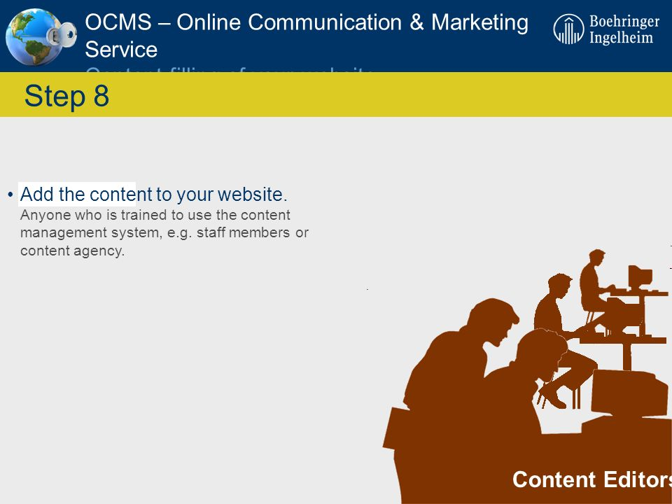 OCMS – Online Communication & Marketing Service Content filling of your website