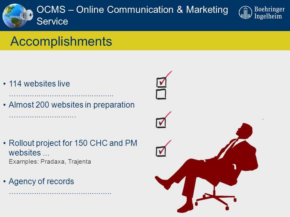 Accomplishments OCMS – Online Communication & Marketing Service