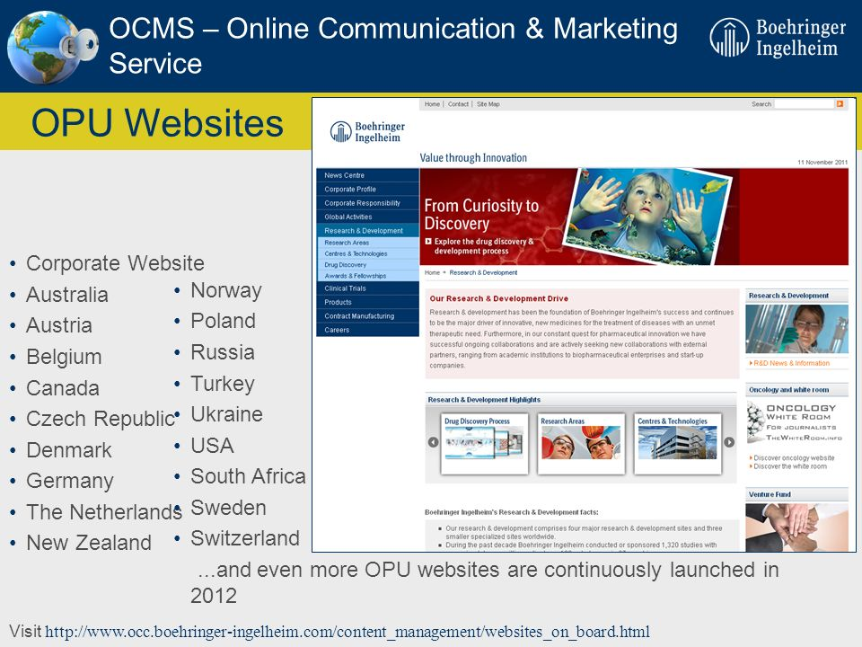 OPU Websites OCMS – Online Communication & Marketing Service