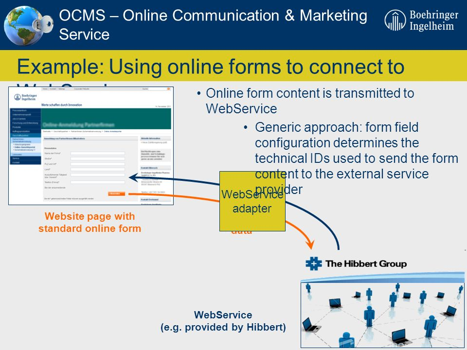 Example: Using online forms to connect to WebServices
