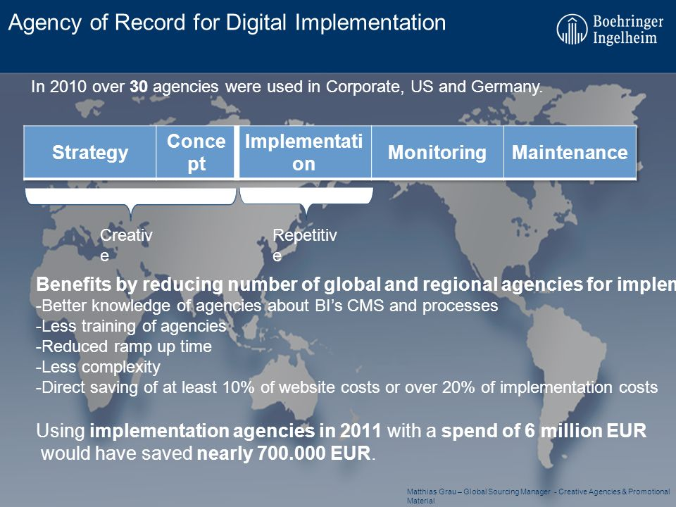 Agency of Record for Digital Implementation