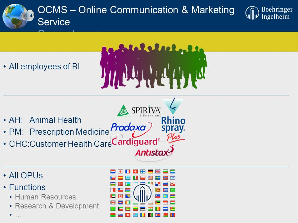 OCMS – Online Communication & Marketing Service Our customers