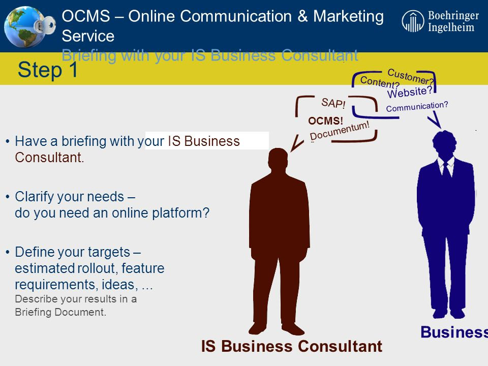 OCMS – Online Communication & Marketing Service Briefing with your IS Business Consultant