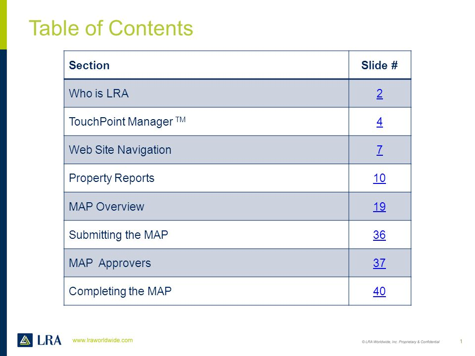 Table of Contents Section Slide # Who is LRA 2 TouchPoint Manager TM 4
