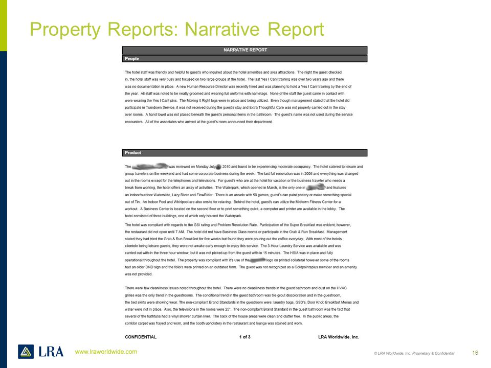 Property Reports: Narrative Report