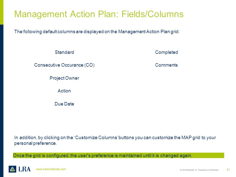 Management Action Plan: Fields/Columns