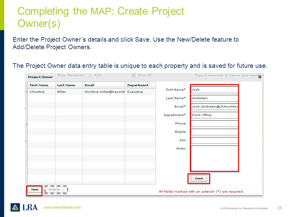 Completing the MAP: Create Project Owner(s)