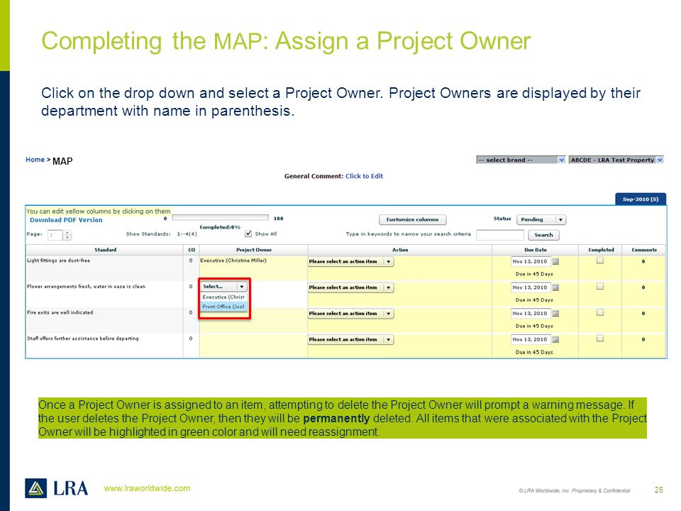 Completing the MAP: Assign a Project Owner
