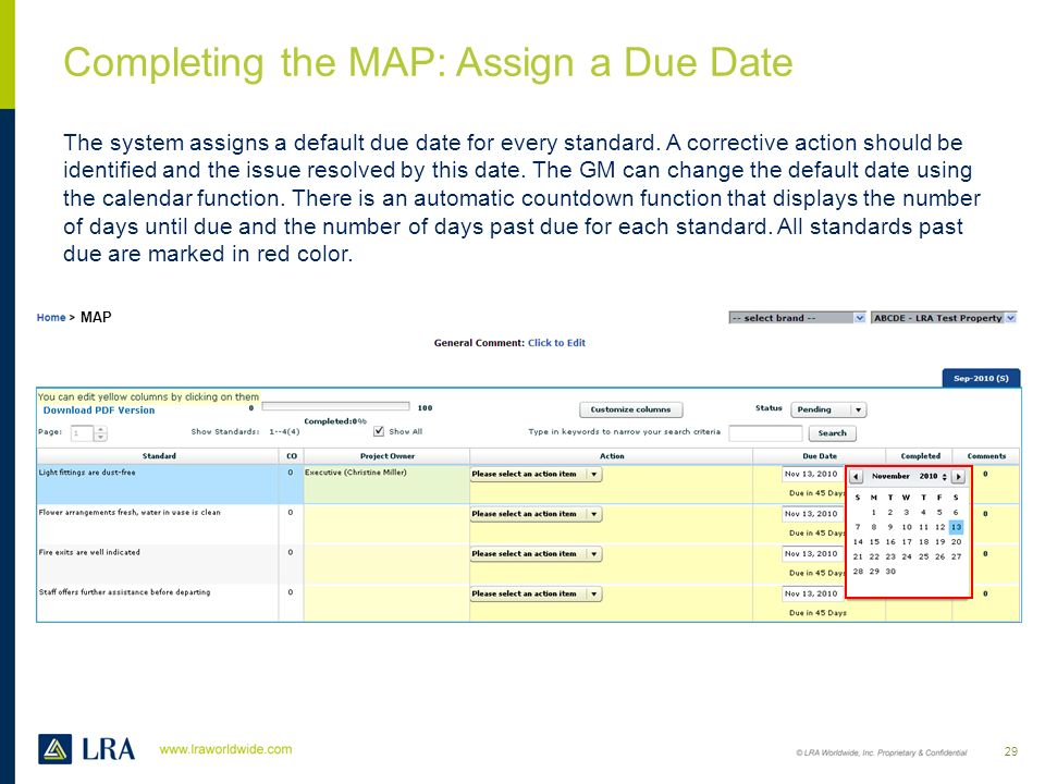 Completing the MAP: Assign a Due Date
