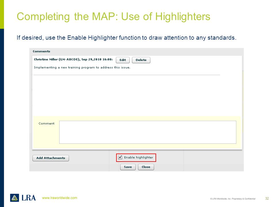 Completing the MAP: Use of Highlighters