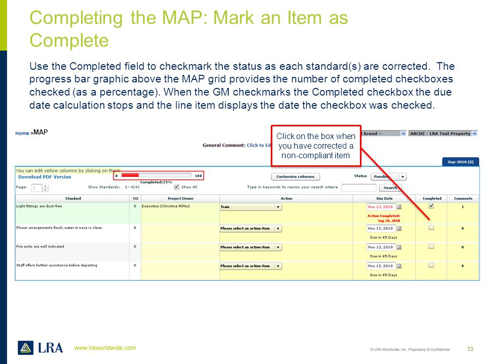 Completing the MAP: Mark an Item as Complete