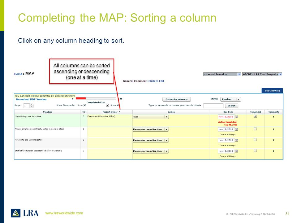 Completing the MAP: Sorting a column