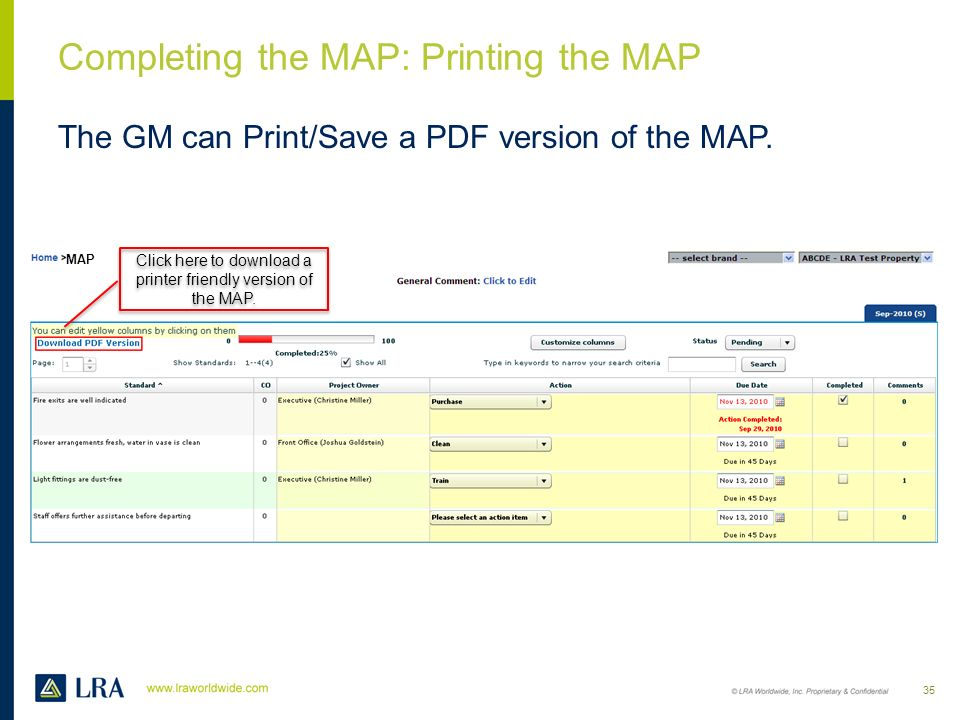 Completing the MAP: Printing the MAP