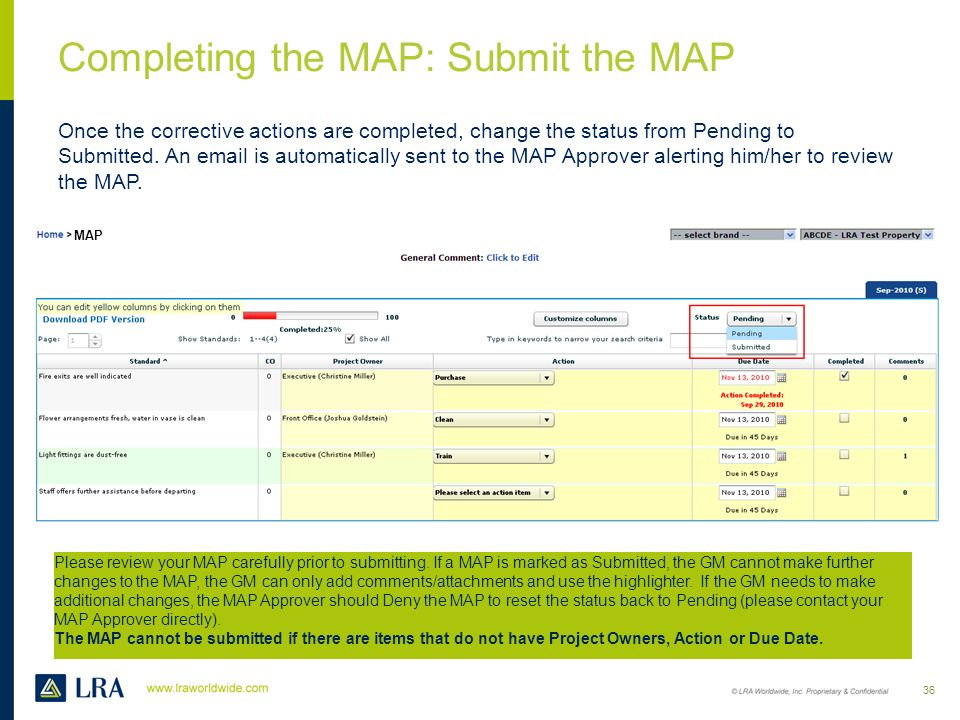 Completing the MAP: Submit the MAP