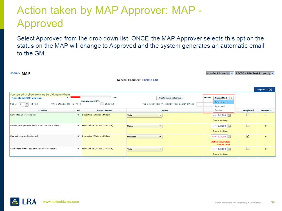 Action taken by MAP Approver: MAP - Approved