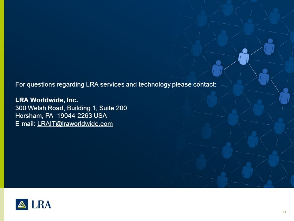 For questions regarding LRA services and technology please contact: