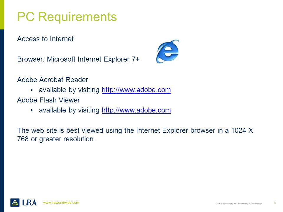 PC Requirements Access to Internet