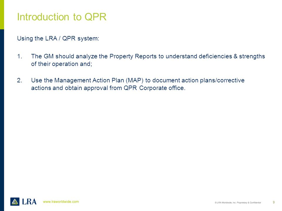Introduction to QPR Using the LRA / QPR system: