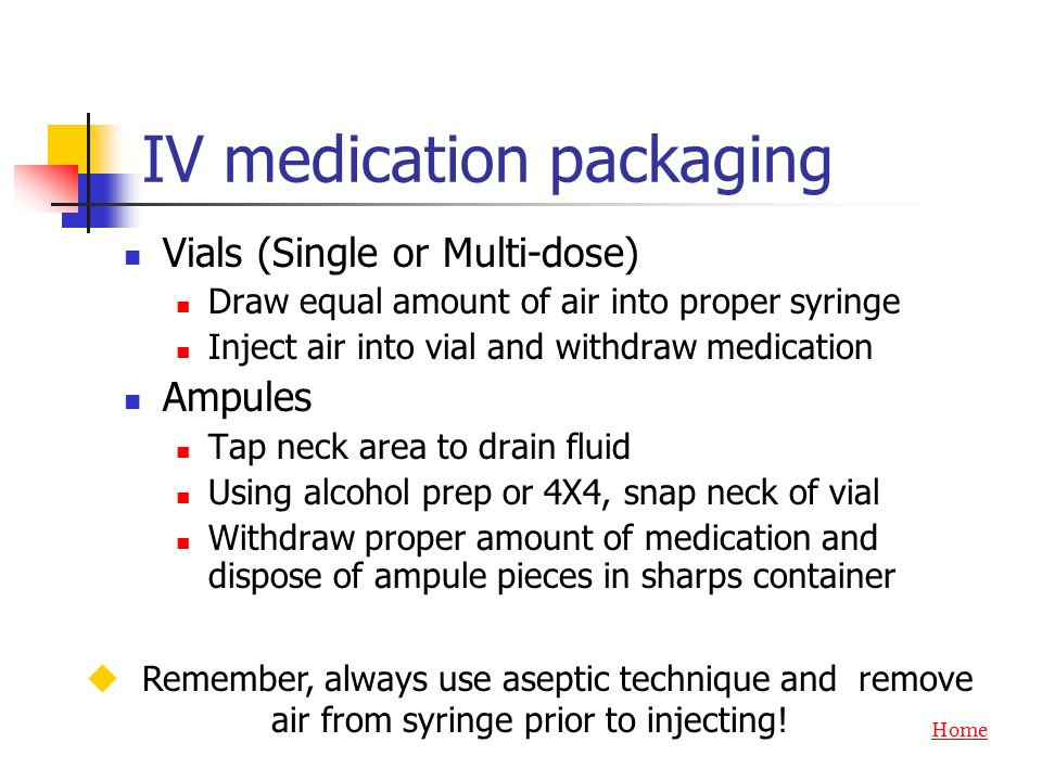 IV medication packaging