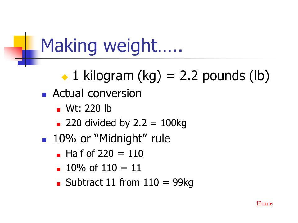1 kilogram (kg) = 2.2 pounds (lb)