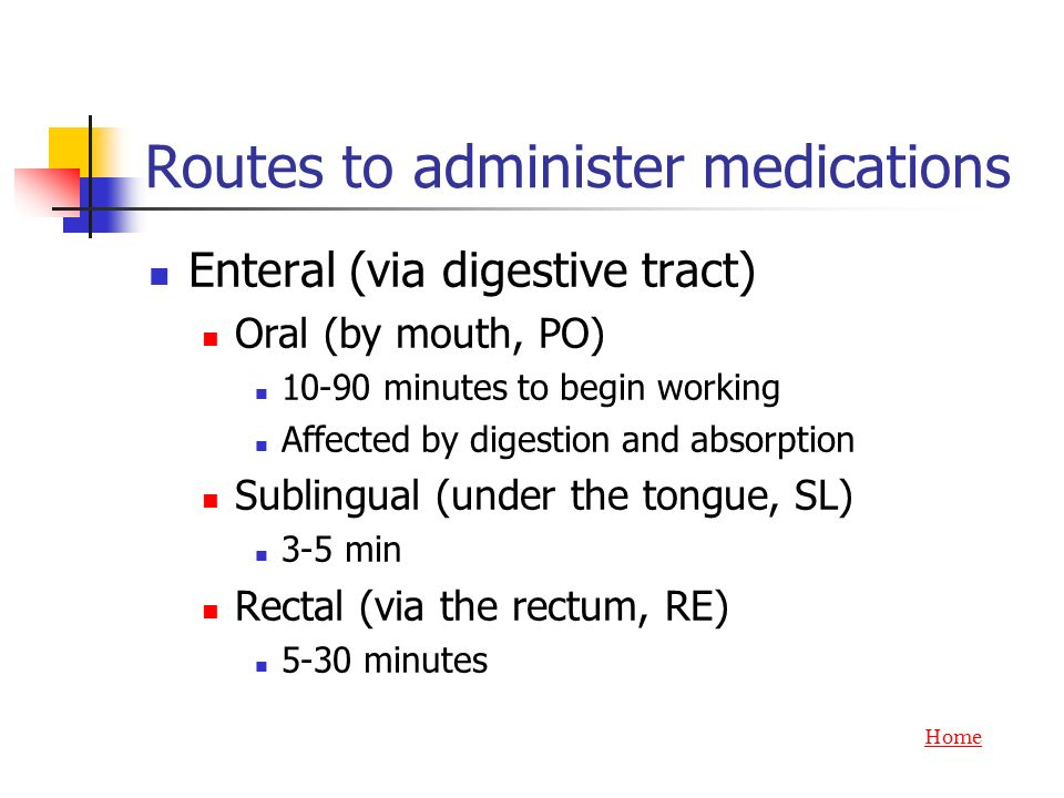 Routes to administer medications