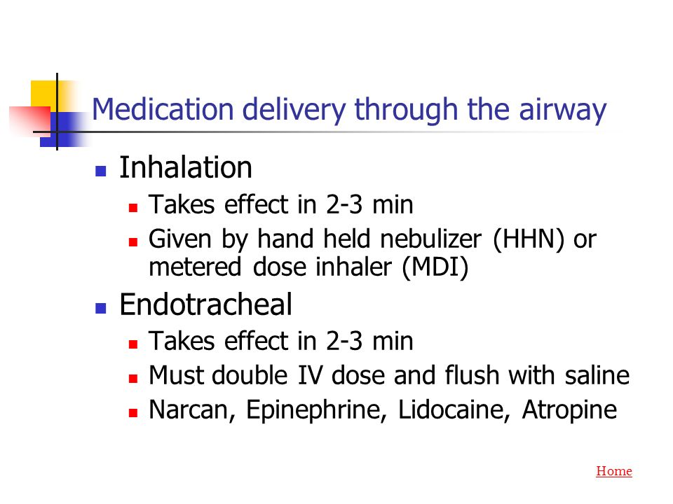 Medication delivery through the airway