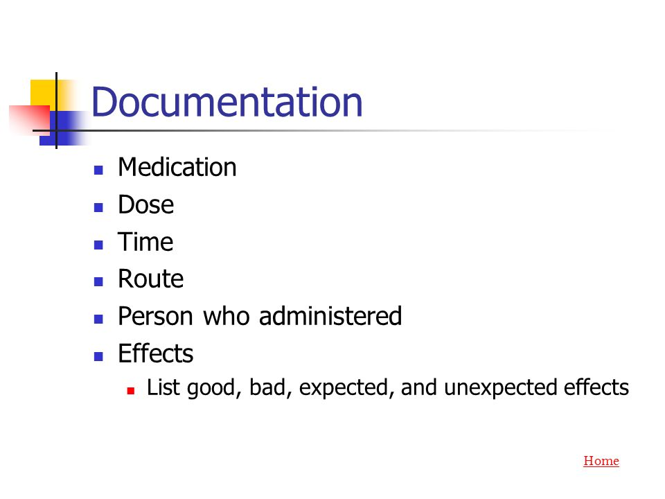 Documentation Medication Dose Time Route Person who administered