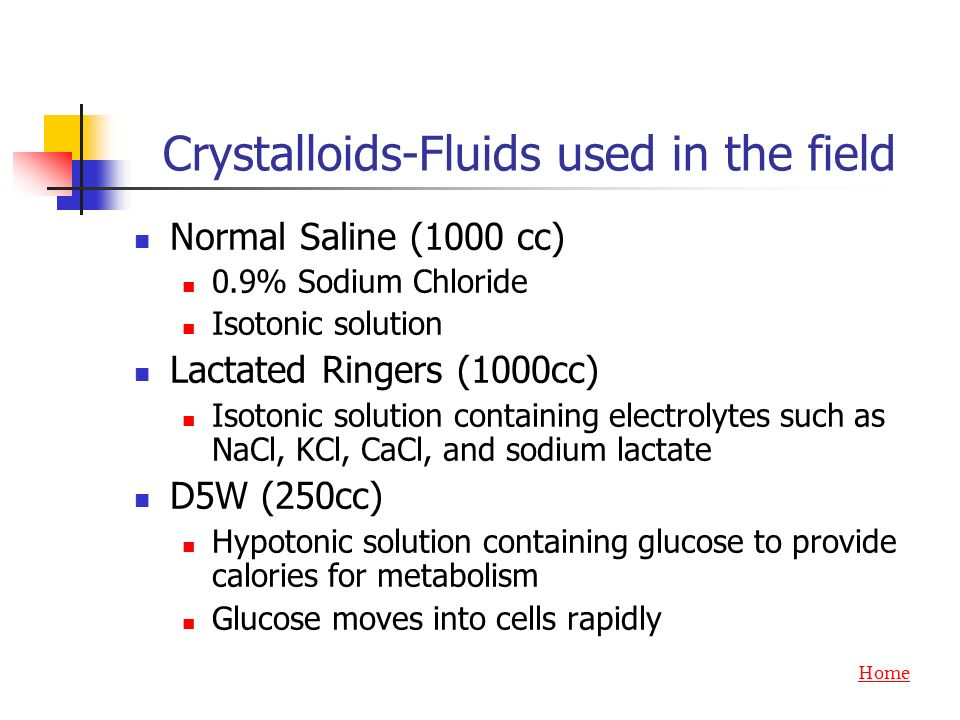 Crystalloids-Fluids used in the field
